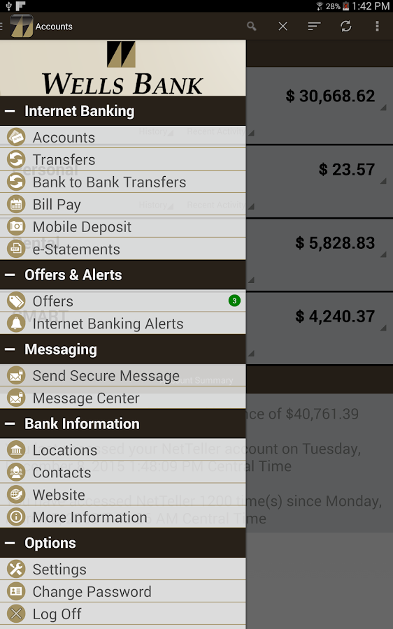 Wells Bank Mobile Banking- screenshot