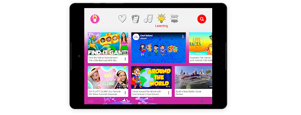 The 'learning' section on a child-friendly tablet experience