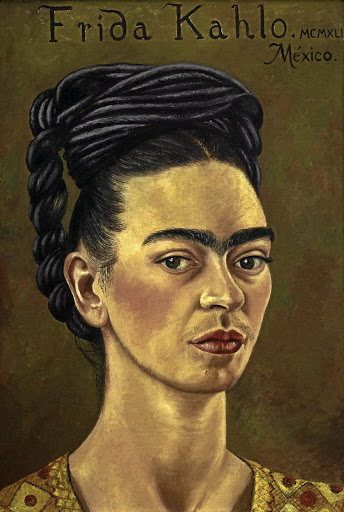 Frida Kahlo: Self-portrait with red and gold dress, 1941