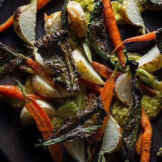 Shishito and Macadamia Romesco with Roasted Vegetables