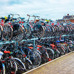 Room for one more? by Amanda Dacey - Transportation Bicycles ( nederland, bike, parked, netherlands, delft, bicycle )