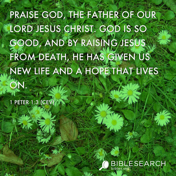 Photo: Praise God, the Father of our Lord Jesus Christ. God is so good, and by raising Jesus from death, he has given us new life and a hope that lives on.  1 Peter 1:3 [CEV]  http://bibles.org/CEV/1Pet/1/3