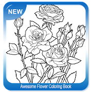 Awesome Flower Coloring Book