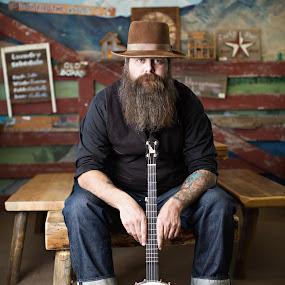 Chuy by Kristin Cheatwood - People Portraits of Men ( beard, banjo )