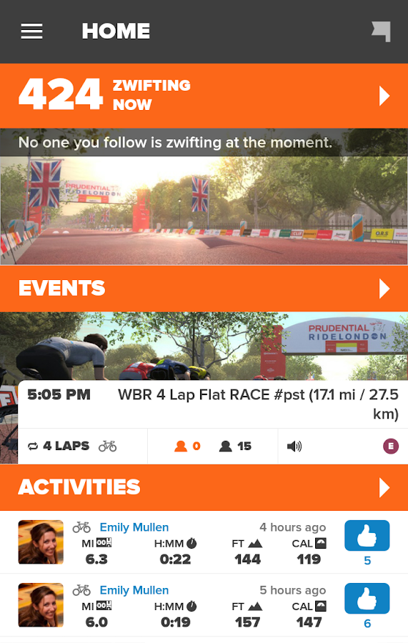 Zwift Mobile Link: screenshot