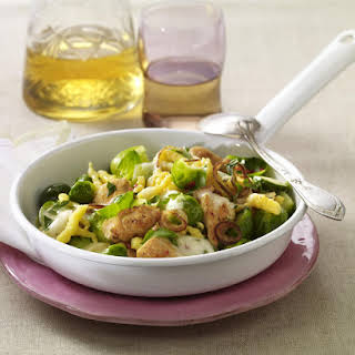 Chicken and Spätzle with Brussels Sprouts.