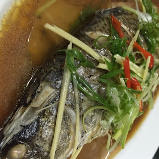 Whole Steamed Fish with Ginger Soya Sauce and Rice Wine Vinegar.