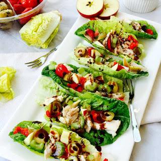 Gem Lettuce, Chicken And Apple Little Boats.