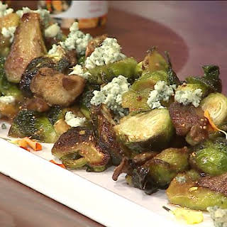 Crispy Roasted Buffalo Brussels Sprouts with Shitake Mushrooms and Figs.