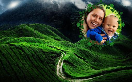 綠色山丘上相框