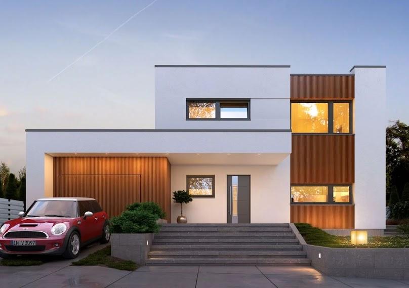 Nowoczesny, piętrowy dom na miejskim osiedlu