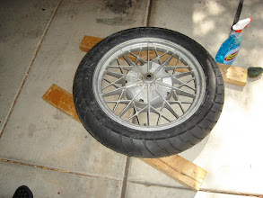 Photo: Rear tire went on without a fuss. Was surprised at how easy it was!  Shinko 712s - 110/90-18