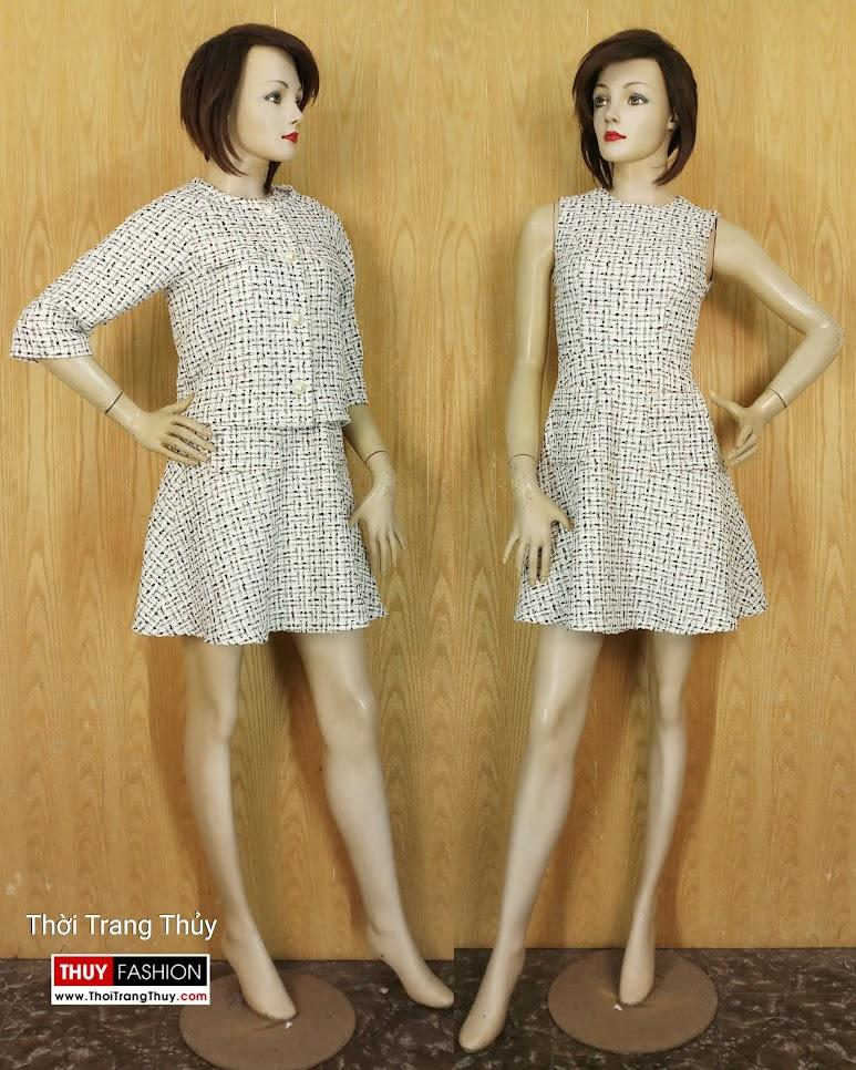 Áo khoác nữ và Váy liền xòe vải tweed V654 Hải Phòng
