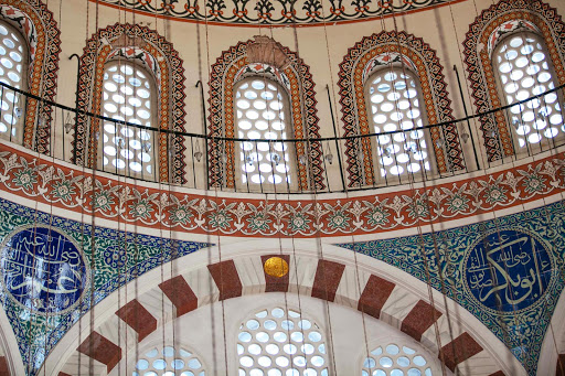 Windows illuminate the center of the Rüstem Pasha Mosque in Istanbul.