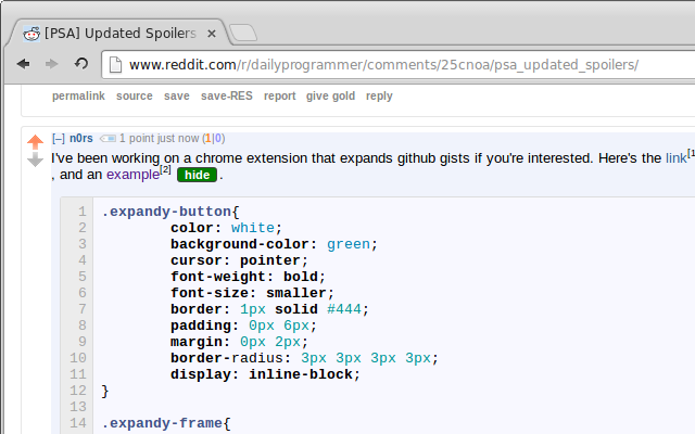 ExpandyCode for Reddit