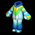 青いスキーウェア