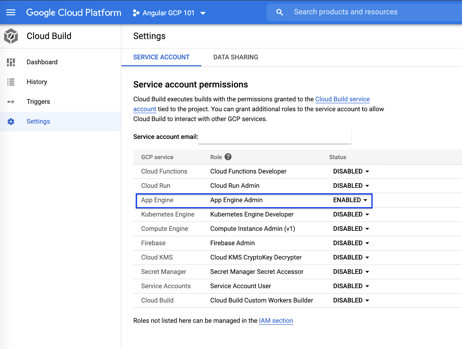 Providing service permissions in App Engine on gcp