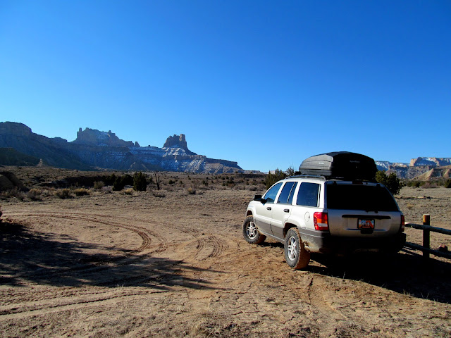 Parked at the trailhead near Cane Wash