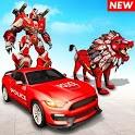 Police Lion Robot Hero Transform Car- Robot Games icon