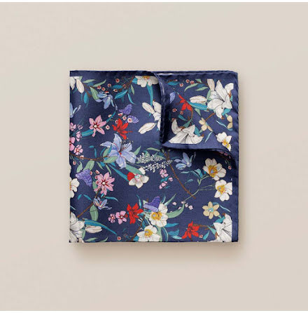 ETON Blue floral pocket square
