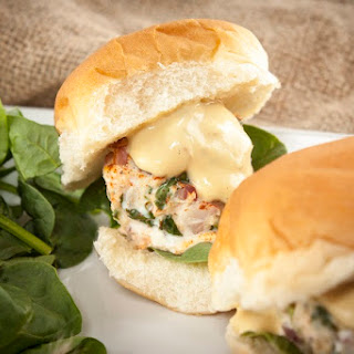 Salmon-Crab Sliders with Zesty Creole Mustard Sauce.