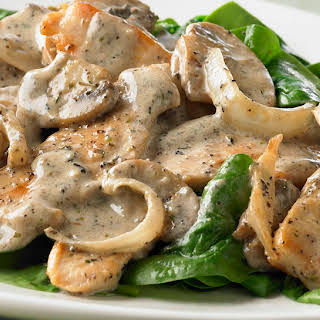 Creamy Peppered Chicken and Mushrooms.