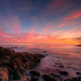 Mother Nature's Canvas by Eddie Yerkish - Landscapes Sunsets & Sunrises ( clouds, water, orange, sand, laguna, waterscape, crescent bay, waves, canvas, ocean, seascape, beach, landscape, sun, sky, mother, nature, blue, sunset, pink, long exposure, wet, nikon, rocks )