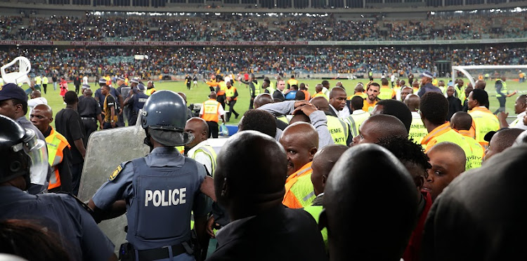 FILE IMAGE: Fans vandalizing the stadium during the 2018 Nedbank Cup match between Kaizer Chiefs and Free State Stars at Moses Mabhida Stadium, Durban on 21 April 2018.