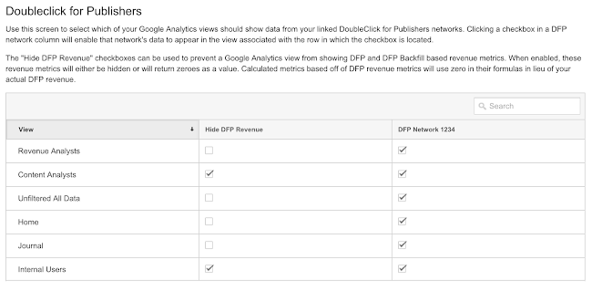 The revenue toggle allows you to hide DFP revenue from specific Analytics 360 views.