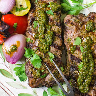 Grilled Chermoula Marinated Strip Steaks.
