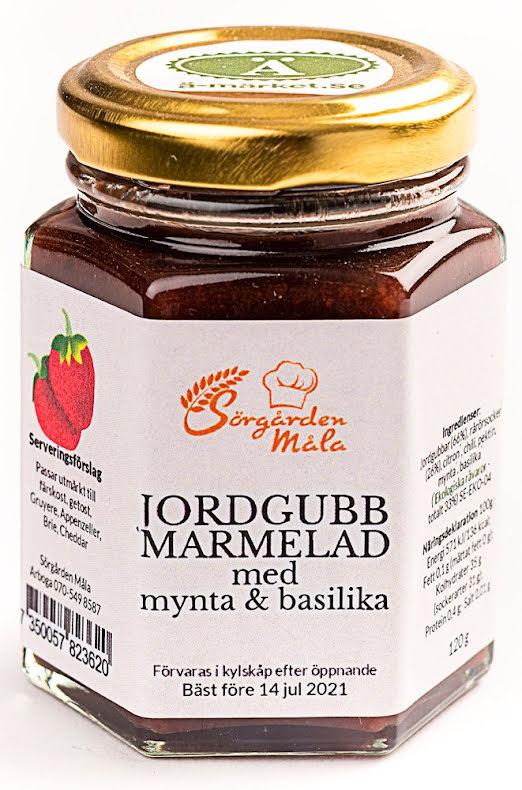 Jordgubbsmarmelad mynta & basilika – Sörgården Måla