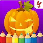 Kids coloring book halloween
