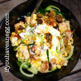 Greek Grilled Chicken Salad Zoodles Version – 7 Weight Watchers Smart Points Value.