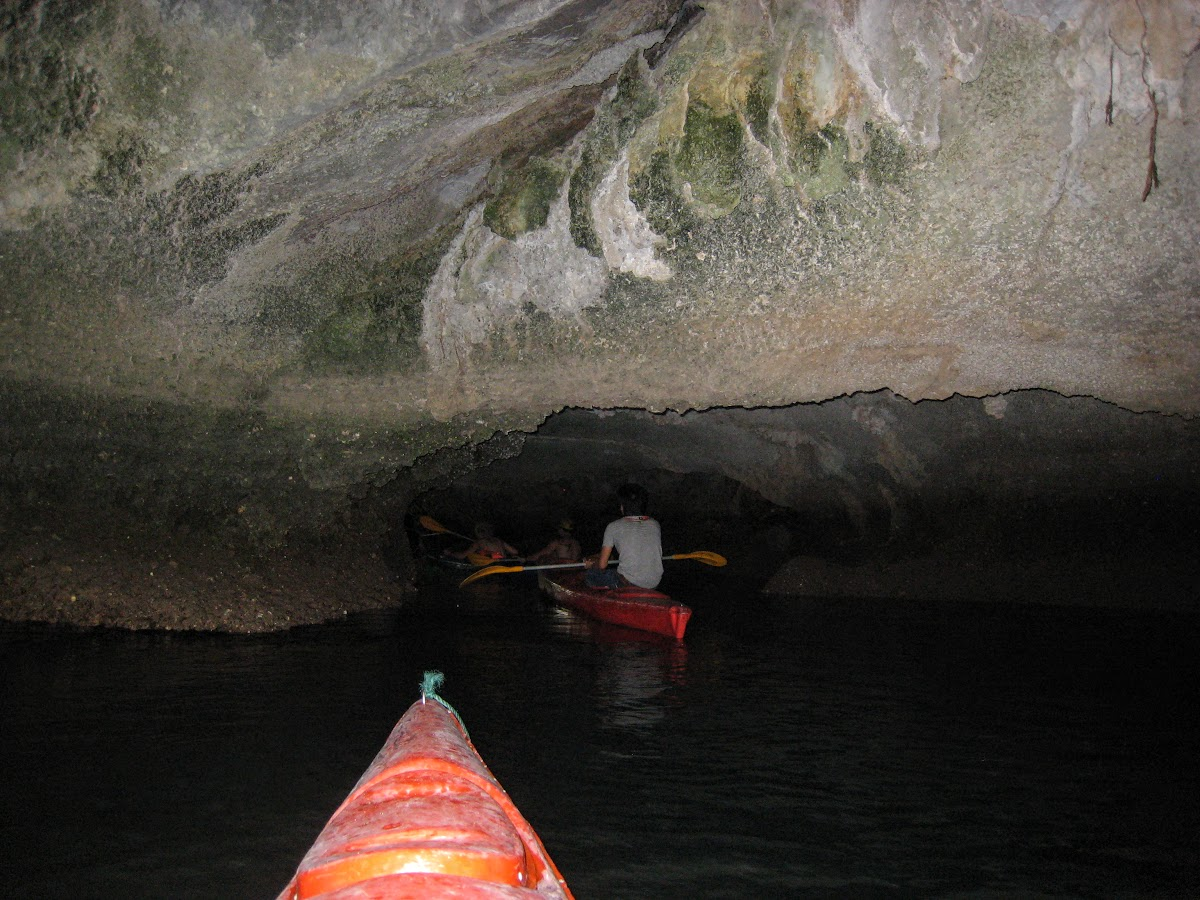 Checking one of the caves