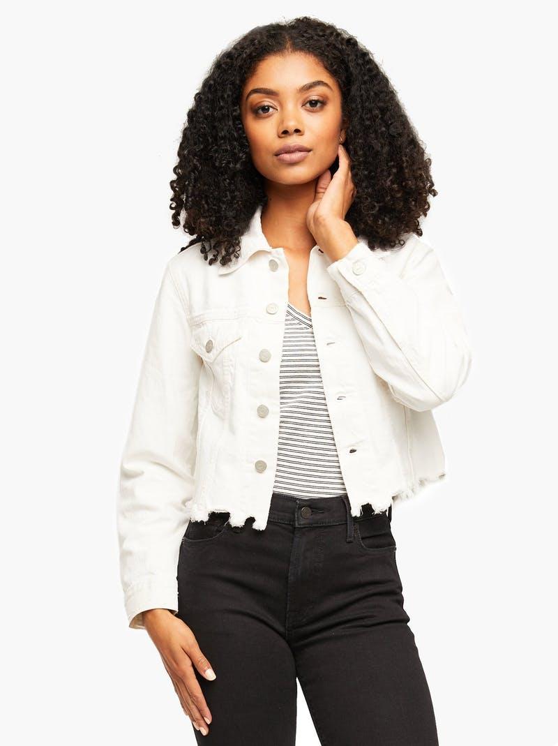 ABLE cropped White denim jacket