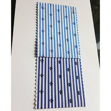 """印花條子恤衫布 Item No : NOS5241 Contents: 50s printed blue stripe 100%Cotton  Regular Soft light weight for casual shirt  Width: 57-58"""" Color: 03NVY / 07BLK  Online shop  https://cesstextile.boutir.com/ www.pinterest.com/cesstextile"""