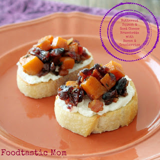Butternut Squash & Goat Cheese Bruschetta with Bacon & Cranberries