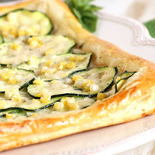 Zucchini Tart with Sweet Corn, Basil and Parmesan.