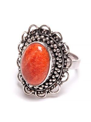 Korall, oval silverring med filigran