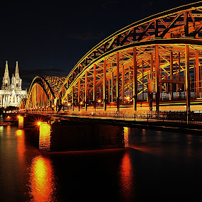 Silver & Gold by Lorraine Paterson - Buildings & Architecture Bridges & Suspended Structures ( germany, cathedral, bridge, night shot, photography )