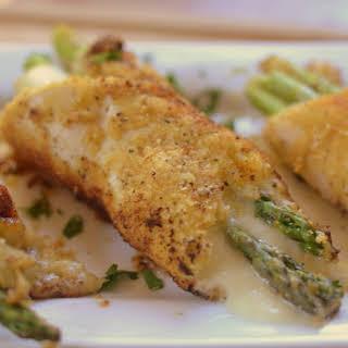 One Skillet Asparagus Stuffed Parmesan Chicken.