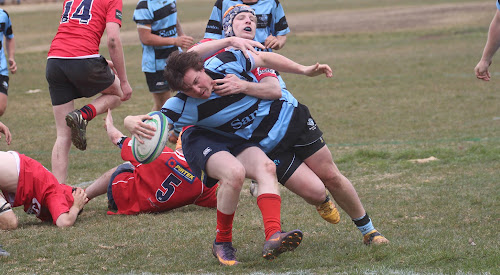 Narrabri Blue Boars under-19 centre James Baker crosses for the side's fourth try of the day on Saturday in a 38-12 win against Gunnedah.
