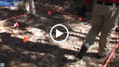Video: Clearing surface vegetation from the mock grave.  The 'grave' has been in the ground for one year.  FSU Anthropology faculty (Doran) has co-taught the course with Florida Deparment of Law Enforcement staff for over 30 years.  It is offered as a full semester course at FSU.  The Jacksonville class is a one week, intensive 'crash course'.