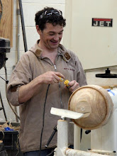 "Photo: Even Stuart sometimes tries to hog out a little more than the lathe electronics will support. Can you say ""reset""?"