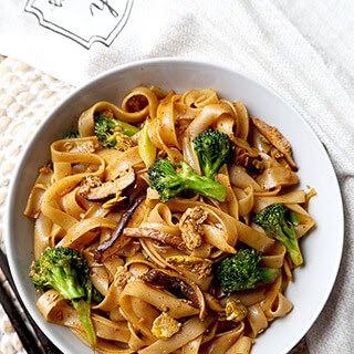 Vegetable Pad See Ew (Thai Rice Noodles).
