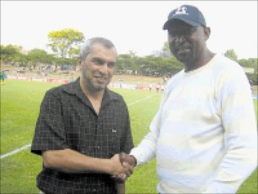 PARTNERS: Maritzburg United's chairman Farouk Kadodia and the club's PRO Brian Zuma.   Cicra 2008. Pic. Ramatsiyi Moholoa.  © Sowetan  Business Day Law & Tax Review. 14/04/2009. Pg 12.