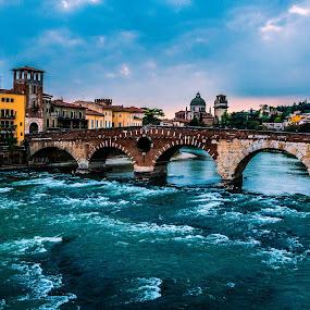 Verona by Celestyx Celestyx - Buildings & Architecture Bridges & Suspended Structures ( water, verona, sunset, bridge, city )