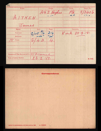 James Aitken's Medal Index Card