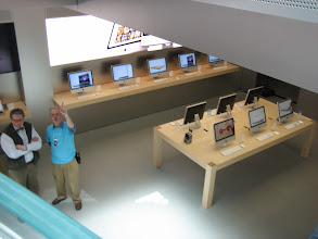 Photo: First floor iMacs seen from the stairs