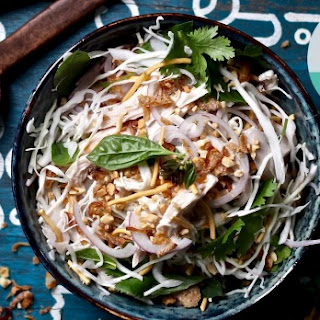 Coconut Poached Chicken With Crispy Noodle And Peanut Salad